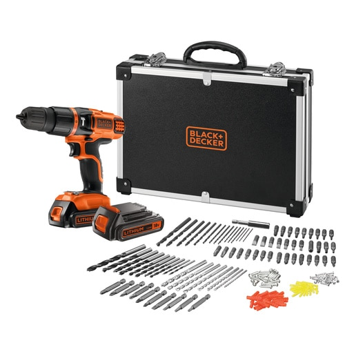 BLACK+DECKER - Perceusevisseuse  percussion sans fil 18V  LITHIUMION avec 2 batteries 160 accessoires dans un flight case - EGBL188BAFC