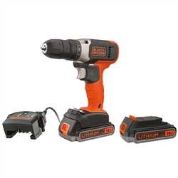 BLACK+DECKER - PerceuseVisseuse sans fil  18 V  2 x 25 Ah  37 Nm  600 trsmin  2 batteries  Livre en coffret - BCD001E2K