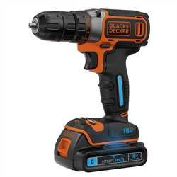 BLACK+DECKER - Perceuse visseuse sans fil 18V  LITHIUM SMART TECH 2 batteries 15Ah 1 chargeur lent en coffret - BDCDC18KBST