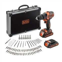 BLACK+DECKER - Perceuse 18V 2 vitesses  chargeur rapide 1A  1 batterie supplmentaire - BDCDD186BAC