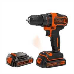 BLACK+DECKER - Perceuse visseuse 2 vitesse sans fil Lithium 18V  2 batteries 15ah  coffret - BDCDD186KB