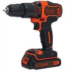 BLACK+DECKER - Perceuse  percussion 2 vitesses 18V  LITHIUM  2 batteries  1 chargeur 400mA et coffret de rangement - BDCHD18KB2
