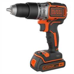 BLACK+DECKER - Perceuse percussion BRUSHLESS 2 vitesses 18V  LITHIUM  2 batteires 15Ah chargeur rapide en coffret - BL188K1B
