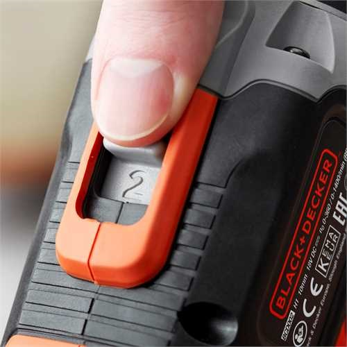 BLACK+DECKER - Perceuse  percussion sans fil  18 V  2 x 25 Ah  45 Nm  1400 trsmin  21 000 cpsmin  2 vitesses  2 batteries  Chargeur inclus  Livre en coffret - BCD003ME2K